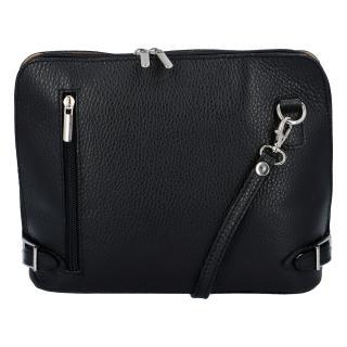 Dámská kožená crossbody kabelka černá - ItalY M0131 dámské