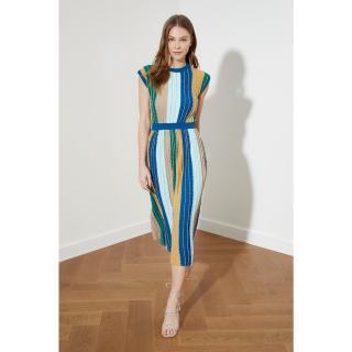 Dámské šaty Trendyol Glitter Striped dámské Navy M
