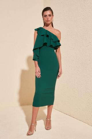Dámské šaty Trendyol Volan Detailed dámské Zümrüt Yeşili 38