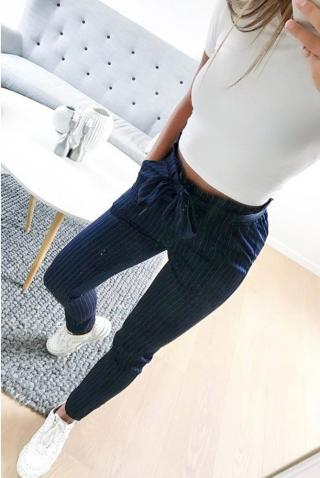 Dámské stylové kalhoty - 2 barvy Barva: tmavě modrá, Velikost: S