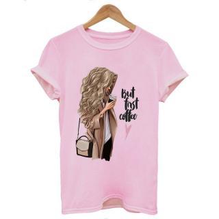 Dámské tričko pro milovnice kávy Barva: růžová, Velikost: S