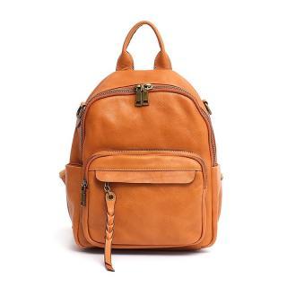 Dámský kožený batoh E924 Barva: světle oranžová