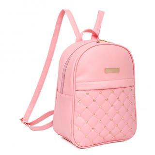 Dámský kožený batoh se zlatým zdobením Barva: růžová