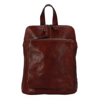 Dámský kožený batůžek kabelka hnědý - ItalY Englis dámské