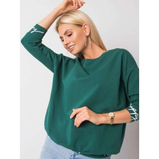 Dark green sweatshirt with inscriptions on the cuffs dámské Other One size