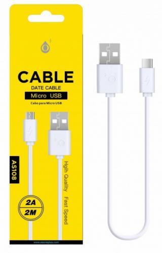 Datový a nabíjecí kabel PLUS AS108, Micro USB 2A/2M, White