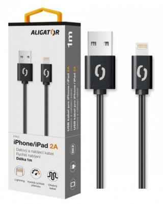 Datový kabel ALIGATOR 2A iPhone lightning 1m, Black
