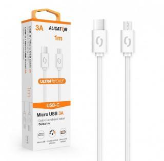 Datový kabel ALIGATOR POWER 3A, USB-C/micro USB, 1m, bílá