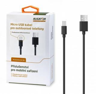 Datový kabel ALIGATOR s prodlouženým microUSB konektorem, 2A, black