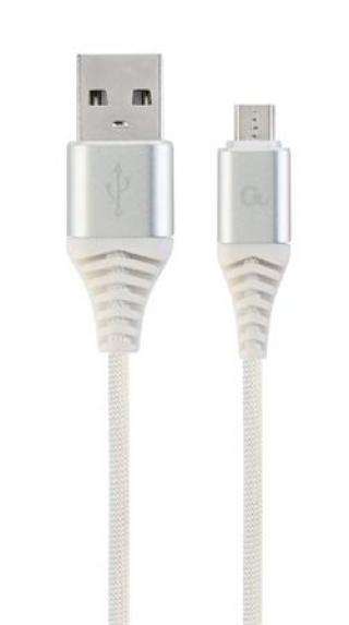 Datový kabel CABLEXPERT USB 2.0, MicroUSB, 1m, opletený, bílo-stříbrná
