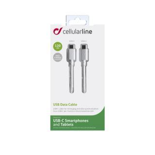 Datový kabel CELLULARLINE s konektory 2x USB-C (PD) 1,2m bílý
