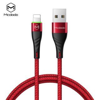 Datový kabel Mcdodo Peacock Series Lightning Data Cable with LED Light, 1.2m, červená