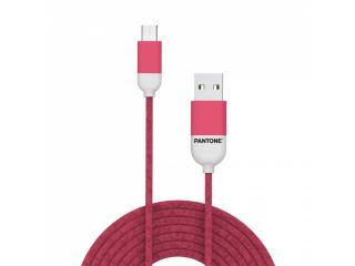 Datový kabel Pantone MicroUSB Cable 1,5m, růžová