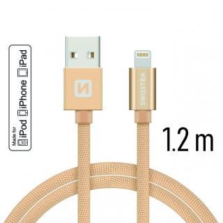 Datový kabel Swissten Textile USB Lightning MFi 1,2 M , gold