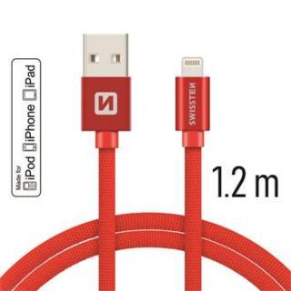 Datový kabel Swissten Textile USB Lightning MFi 1,2 M , red