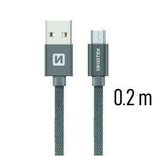 Datový kabel Swissten Textile USB / microUSB 0,2m, grey
