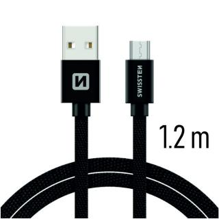 Datový kabel Swissten Textile USB / microUSB 1,2m, black