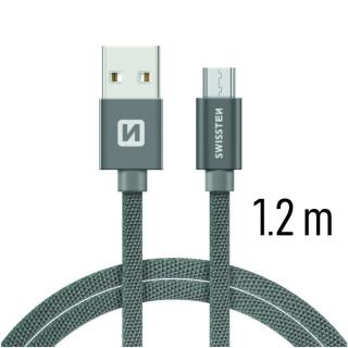 Datový kabel Swissten Textile USB / microUSB 1,2m, grey