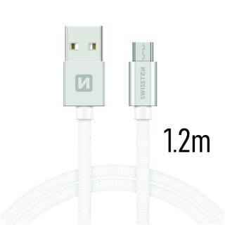 Datový kabel Swissten Textile USB / microUSB 1,2m, silver