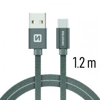 Datový kabel Swissten Textile USB / USB-C 1,2 M, grey