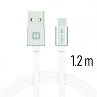 Datový kabel Swissten Textile USB / USB-C 1,2 M, silver