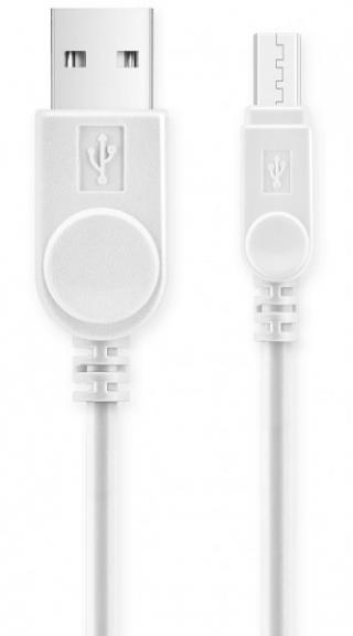 Datový kabel USB ALIGATOR s prodlouženým microUSB konektorem, originální, bílá