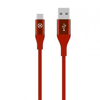 Datový USB kabel CELLY s microUSB konektorem, 1m, červený