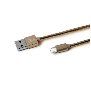 Datový USB kabel CELLY s microUSB konektorem, kovový obal, 1 m, zlatý