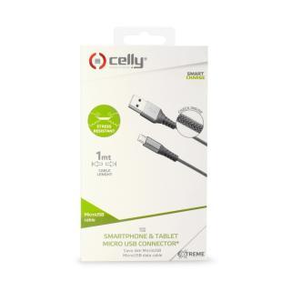 Datový USB kabel CELLY s microUSB, nylonový, 1m, stříbrný