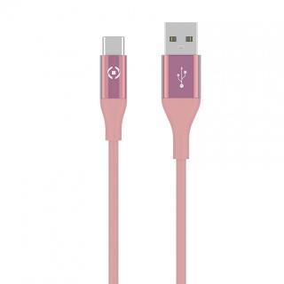 Datový USB kabel CELLY s USB-C konektorem, 1m, růžový
