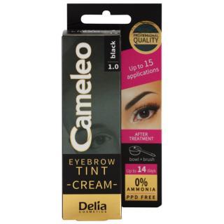 Delia Cosmetics Cameleo krémová profesionální barva na obočí bez amoniaku odstín 1.0 Black 15 ml dámské 15 ml