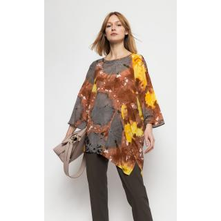 Deni Cler Milano Womans Blouse W-Ds-G302-0B-B2-46-1 Brown/Yellow dámské brown   yellow 36
