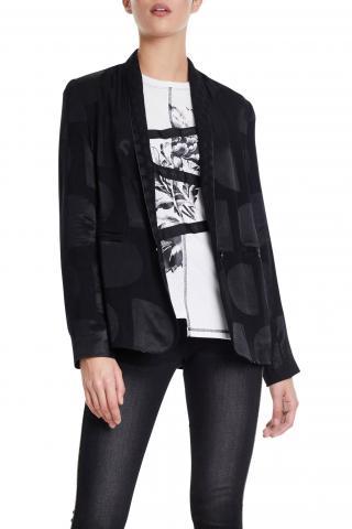 Desigual černé sako Ame Krems s lesklými detaily  - 38 dámské černá 38