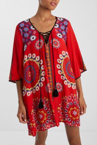 Desigual červené letní šaty Vest Creta - S dámské červená S