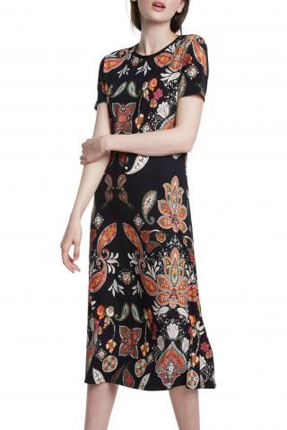 Desigual midi šaty Vest Misuri s barevnými motivy - XS dámské černá XS