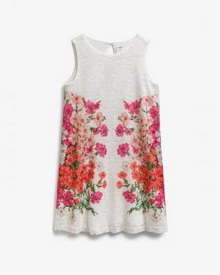Desigual Swiss Embroidery Šaty dětské Bílá dámské 7-8 let