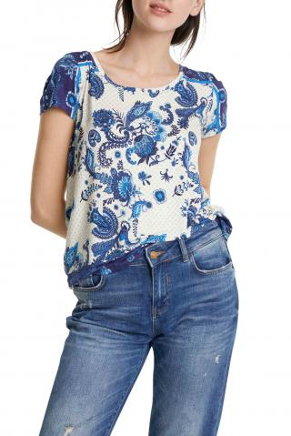 Desigual tričko TS Melian s modrým motivem - XS dámské modrá XS