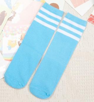 Dětské barevné ponožky s pruhy - 7 barev Barva: světle modrá, Velikost: 1-3 roky