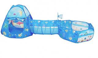 Dětský stan s tunelem a ohrádkou - Mořský svět