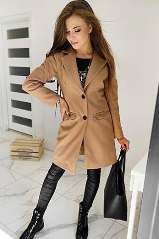 DIVA womens single-breasted coat, camel NY0386 dámské Neurčeno L