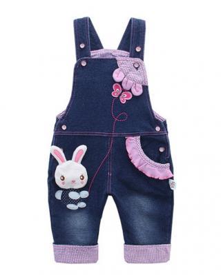 Dívčí džínové kalhoty s potiskem králíka Velikost: 6-9 měsíců