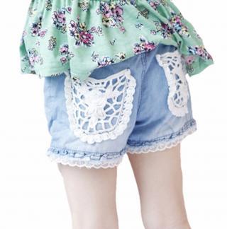 Dívčí džínové kraťasy s krajkou Velikost: 2