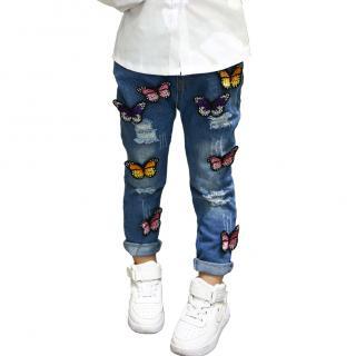 Dívčí džíny s barevnými 3D motýli Velikost: 2