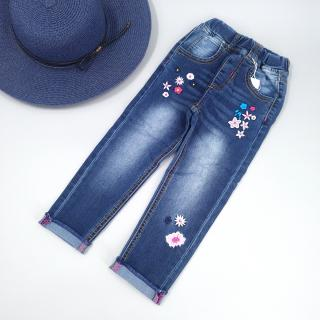 Dívčí džíny s potiskem květin Velikost: 3
