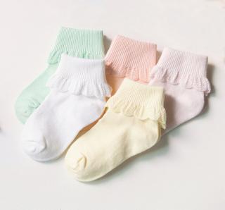Dívčí kotníkové ponožky s krajkou - 5 párů Velikost: 0-1 rok