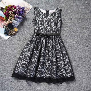 Dívčí krajkové šaty s mašlí okolo pasu - 3 barvy Barva: černá, Velikost: 4