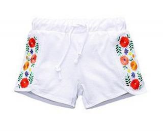 Dívčí kraťasy s květinami - Bílé Velikost: 2