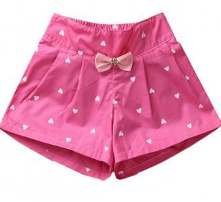 Dívčí kraťasy se srdíčky a mašlí - 5 barev Barva: tmavě růžová, Velikost: 3
