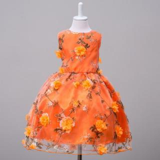 Dívčí plesové šaty s květinami - 2 barvy Barva: oranžová, Velikost: 4