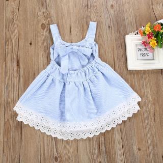Dívčí pruhované šaty s krajkou - Modro-bílé Velikost: 2